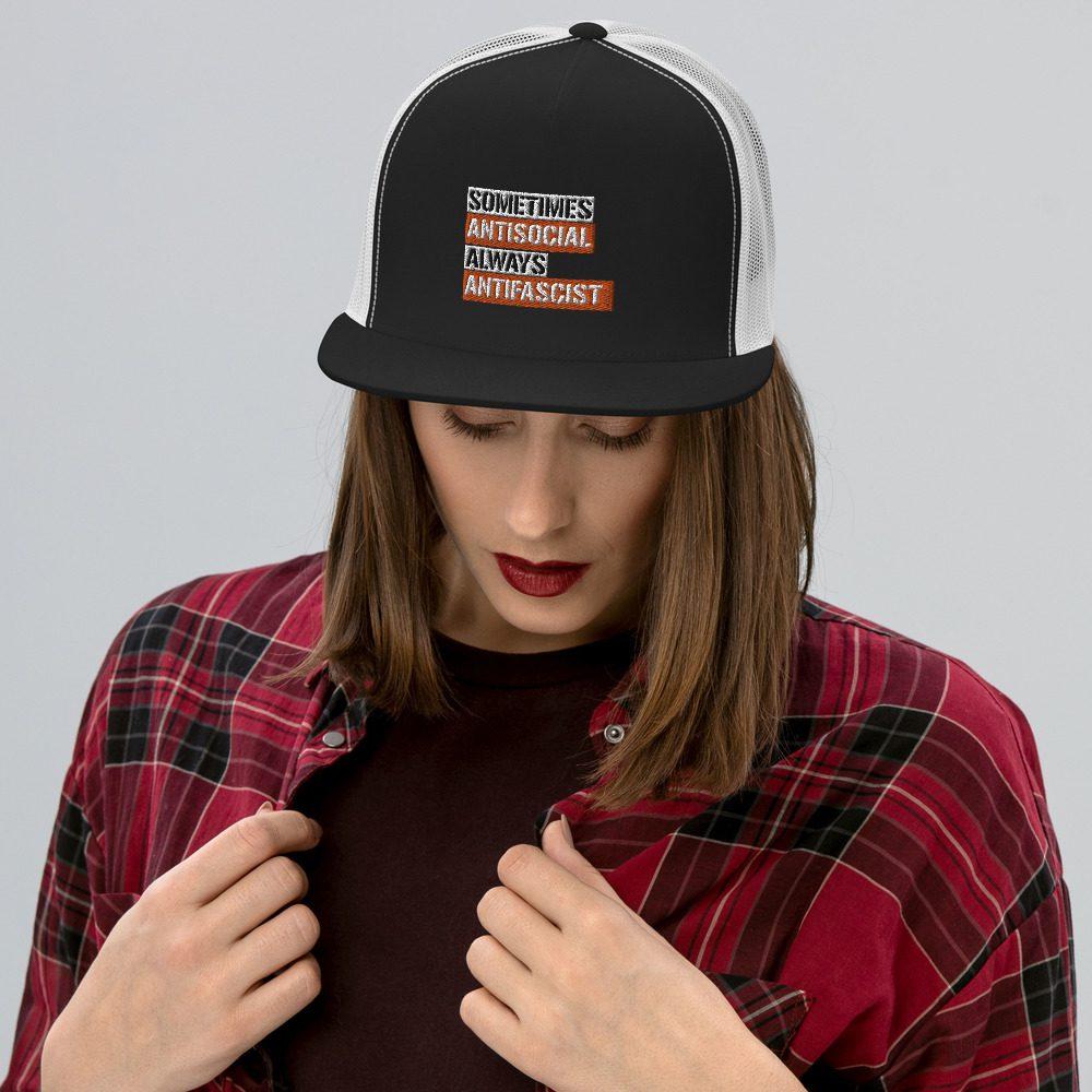 Sometimes Antisocial Always Antifascist Trucker Cap