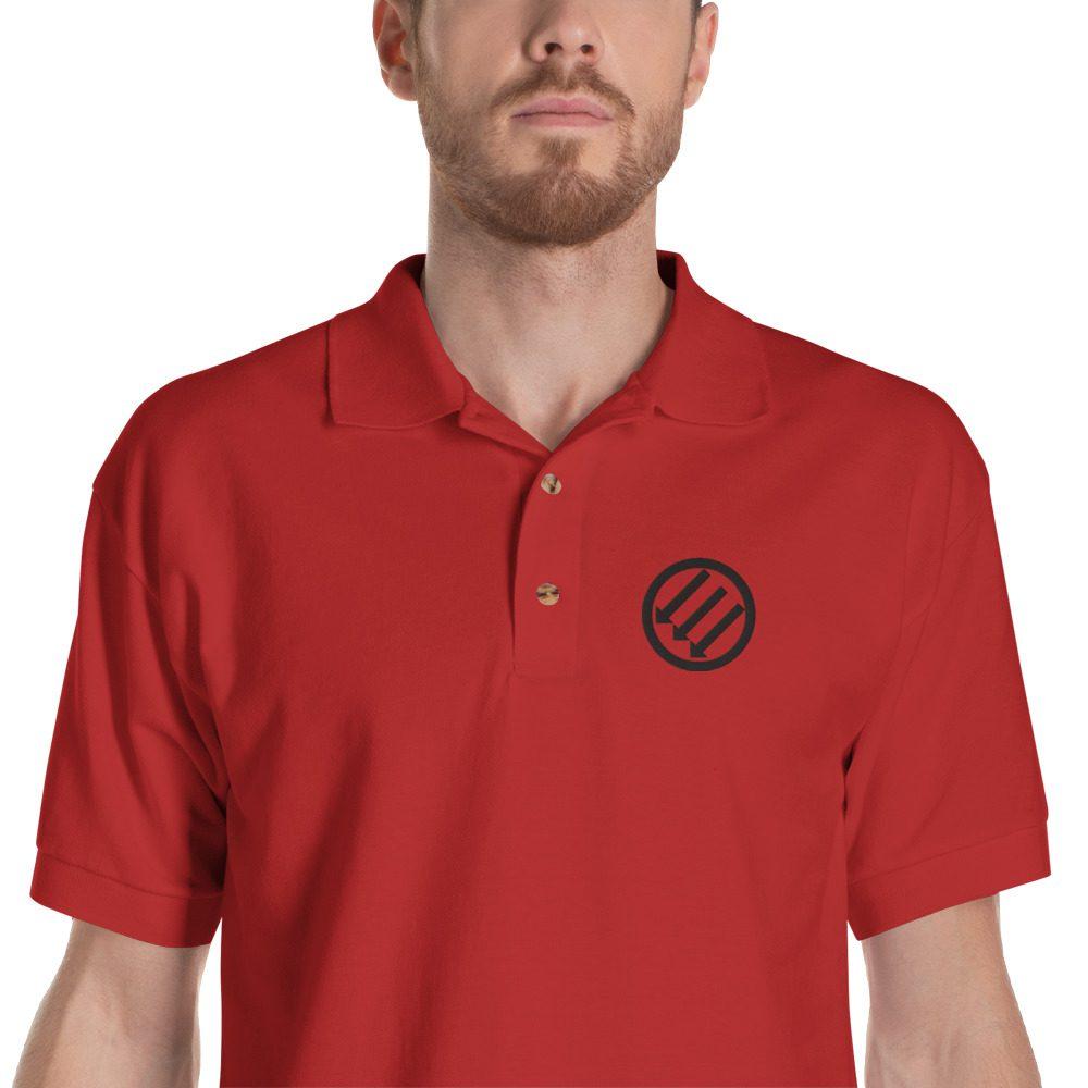 Antifa Iron Front 3 Arrows Embroidered Polo Shirt