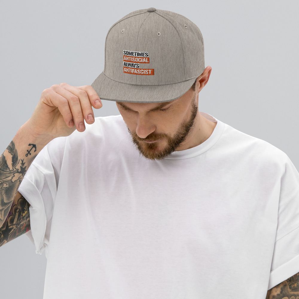 Sometimes Antisocial Always Antifascist Snapback Hat