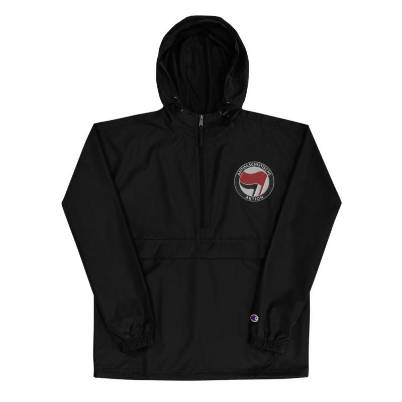 Antifa Antifaschistische Aktion Flag Embroidered Champion Packable Jacket
