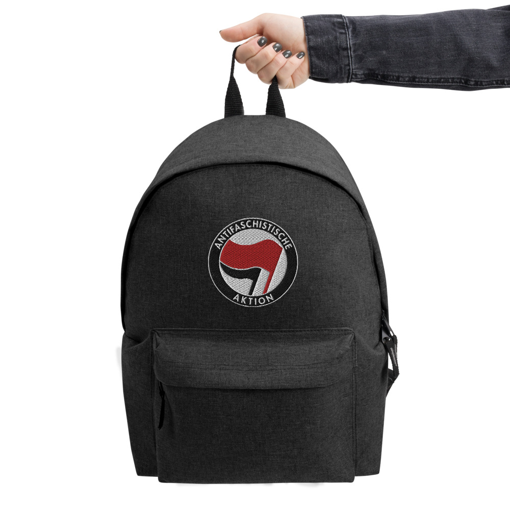 Antifa Antifaschistische Aktion Flag Embroidered Backpack
