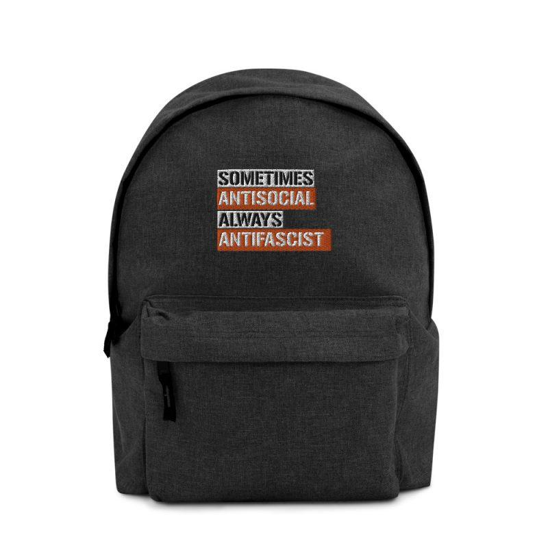 Sometimes Antisocial Always Antifascist Embroidered Backpack