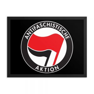 Antifa Antifaschistische Aktion Flag Framed Poster