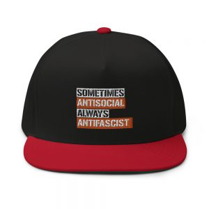 Sometimes Antisocial Always Antifascist Flat Bill Cap