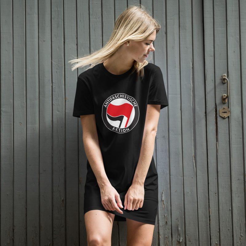 Antifa Antifaschistische Aktion Flag Organic Cotton T-shirt Dress