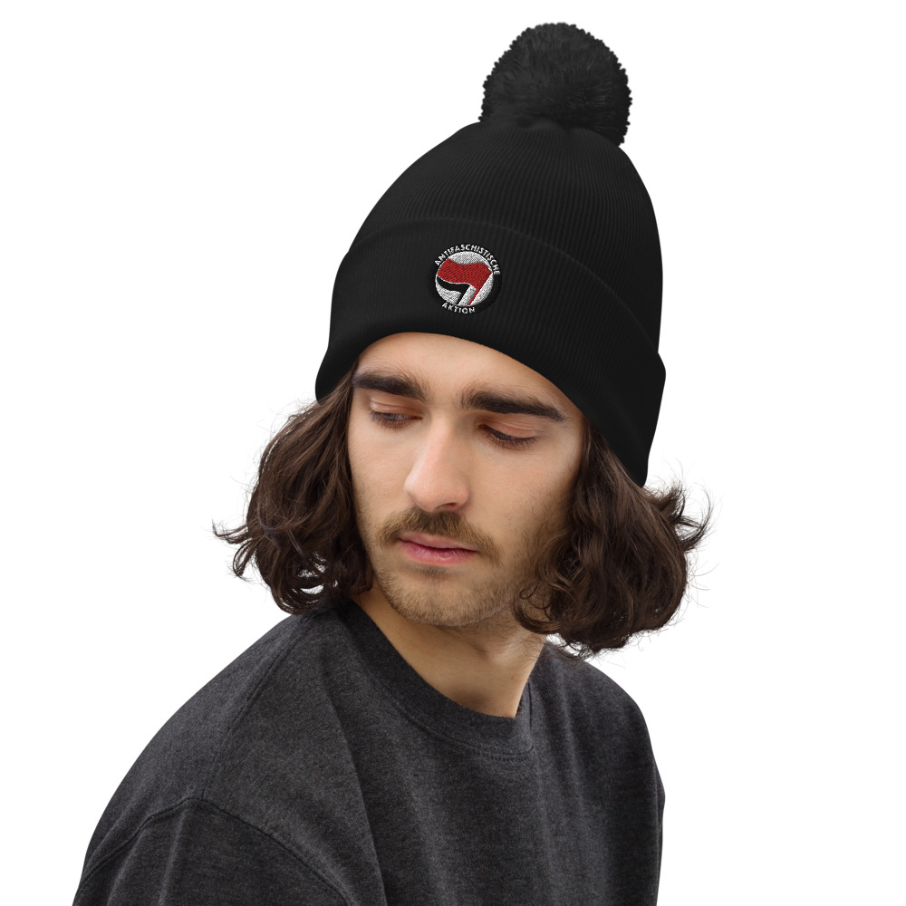 Antifa Antifaschistische Aktion Flag Pom Pom Beanie