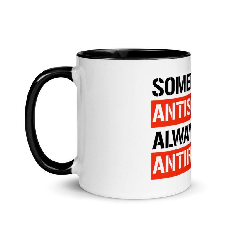 Sometimes Antisocial Always Antifascist Mug with Color Inside