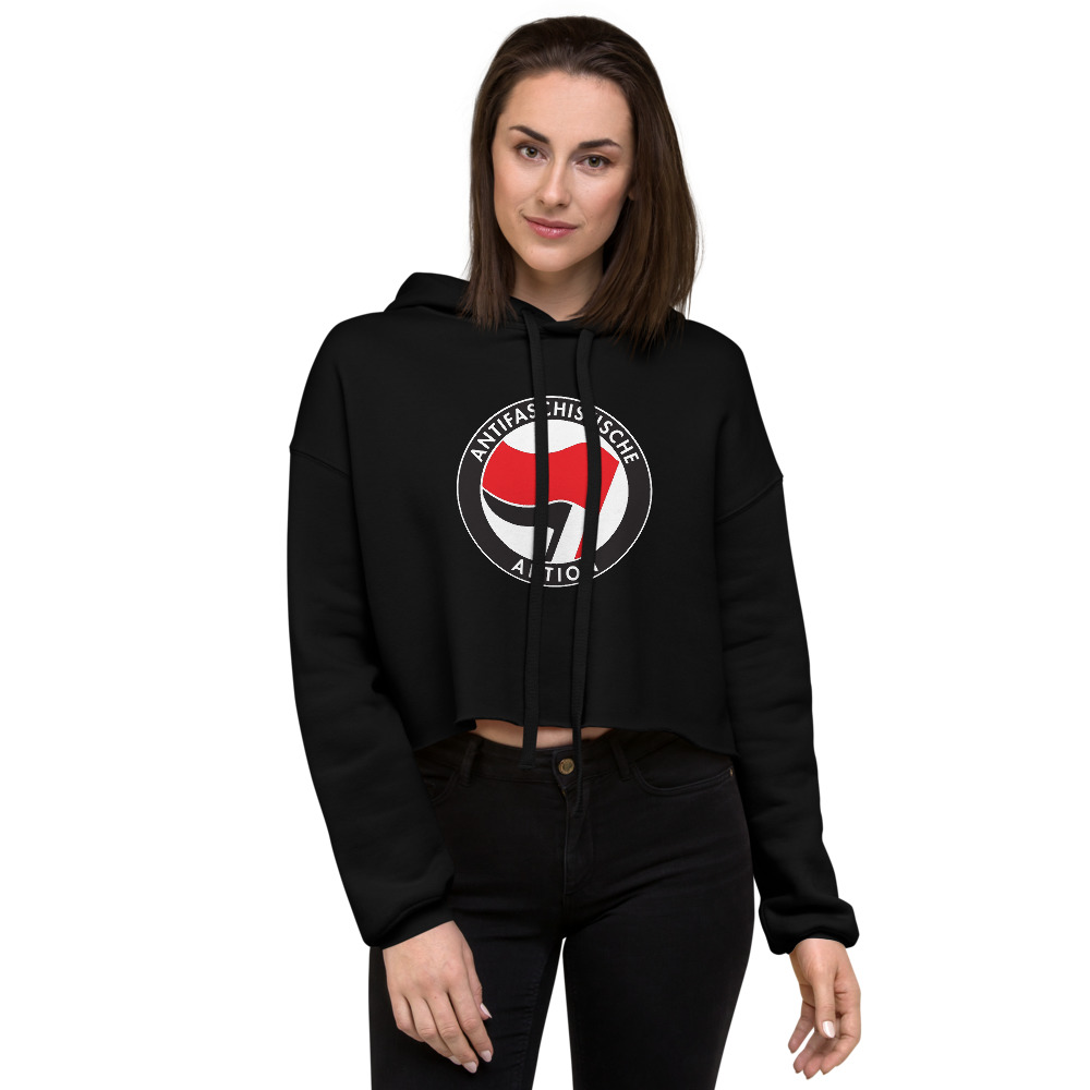 Antifa Antifaschistische Aktion Flag Crop Hoodie