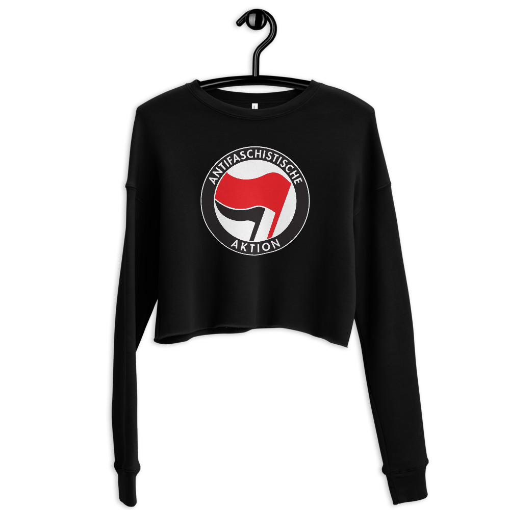Antifa Antifaschistische Aktion Flag Crop Sweatshirt