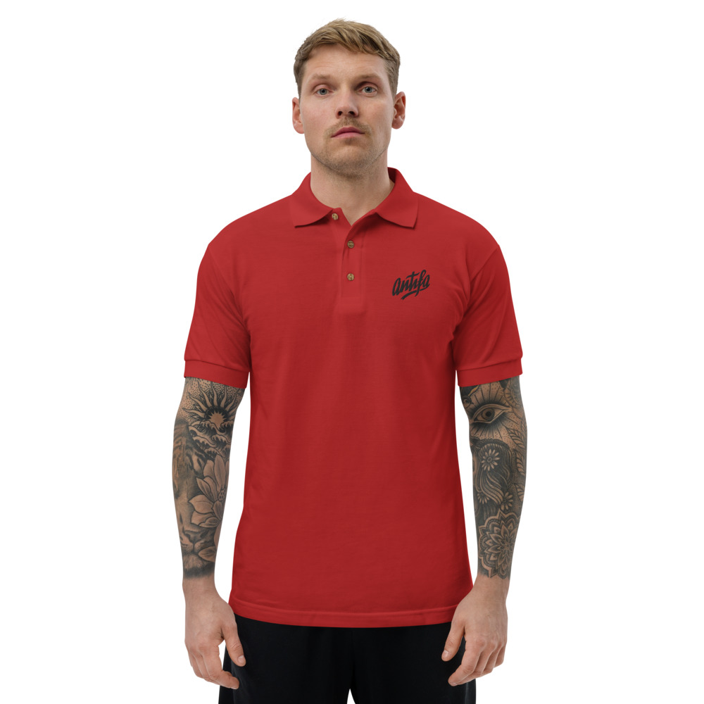 Antifa Embroidered Polo Shirt