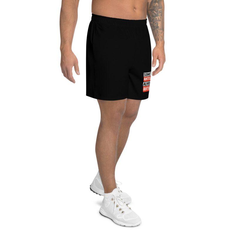Sometimes Antisocial Always Antifascist Black Men's Long Shorts