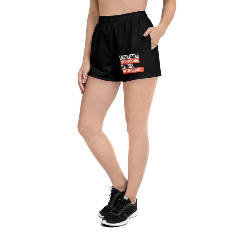 Sometimes Antisocial Always Antifascist Black Women's Shorts