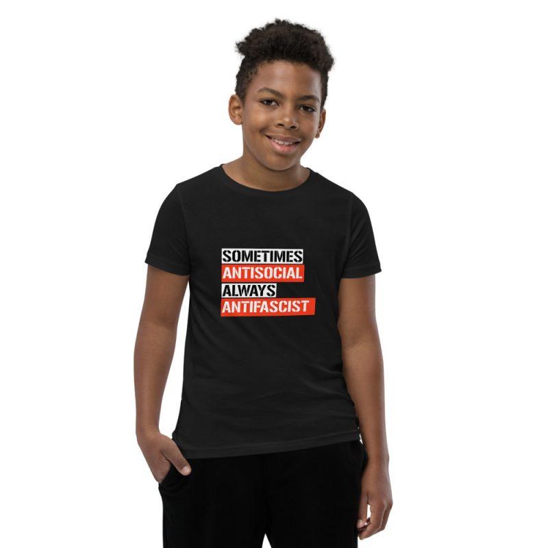 Sometimes Antisocial Always Antifascist Kids Short Sleeve T-Shirt