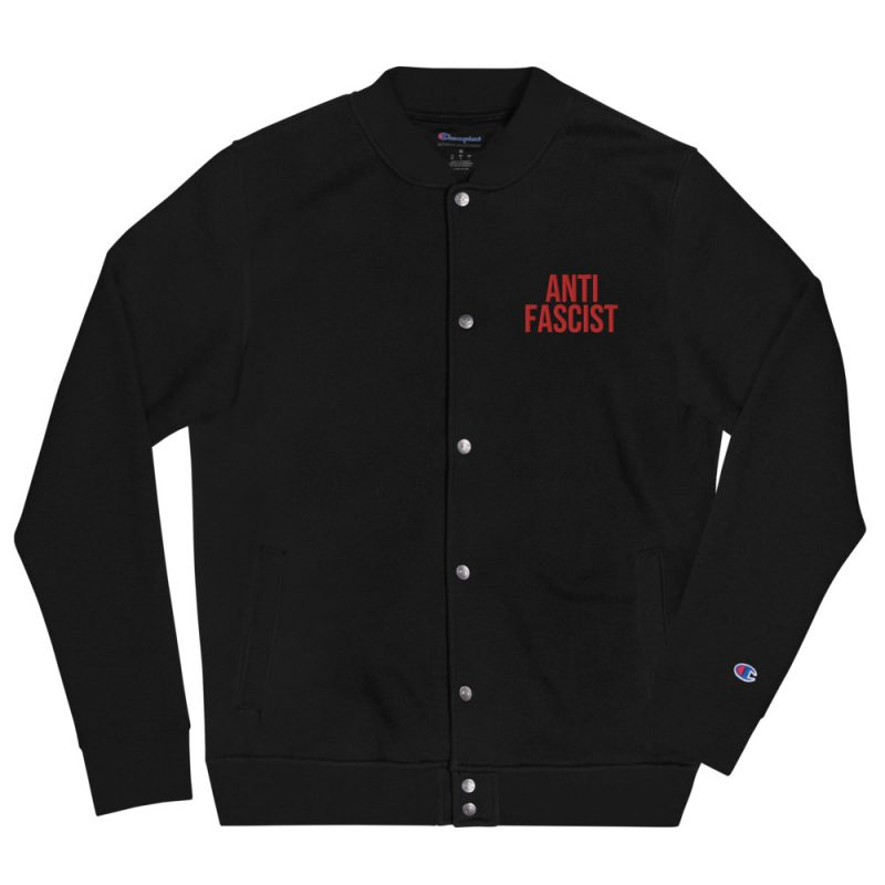 Anti-Fascist Red Embroidered Champion Bomber Jacket