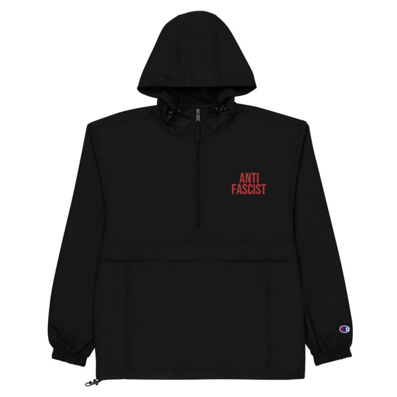 Anti-Fascist Red Embroidered Champion Packable Jacket
