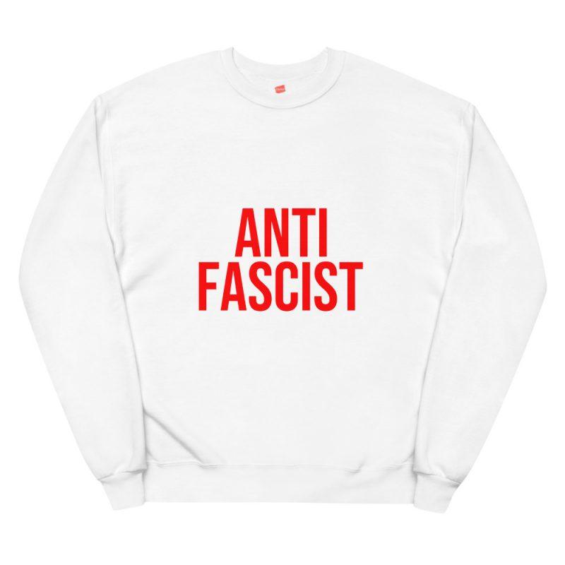 Anti-Fascist Red Unisex Fleece Sweatshirt
