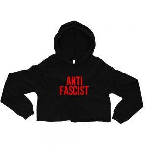 Anti-Fascist Red Crop Hoodie