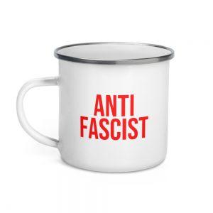 Anti-Fascist Red Enamel Mug
