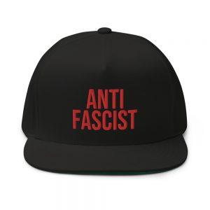 Anti-Fascist Red Flat Bill Cap