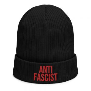 Anti-Fascist Red Organic Ribbed Beanie