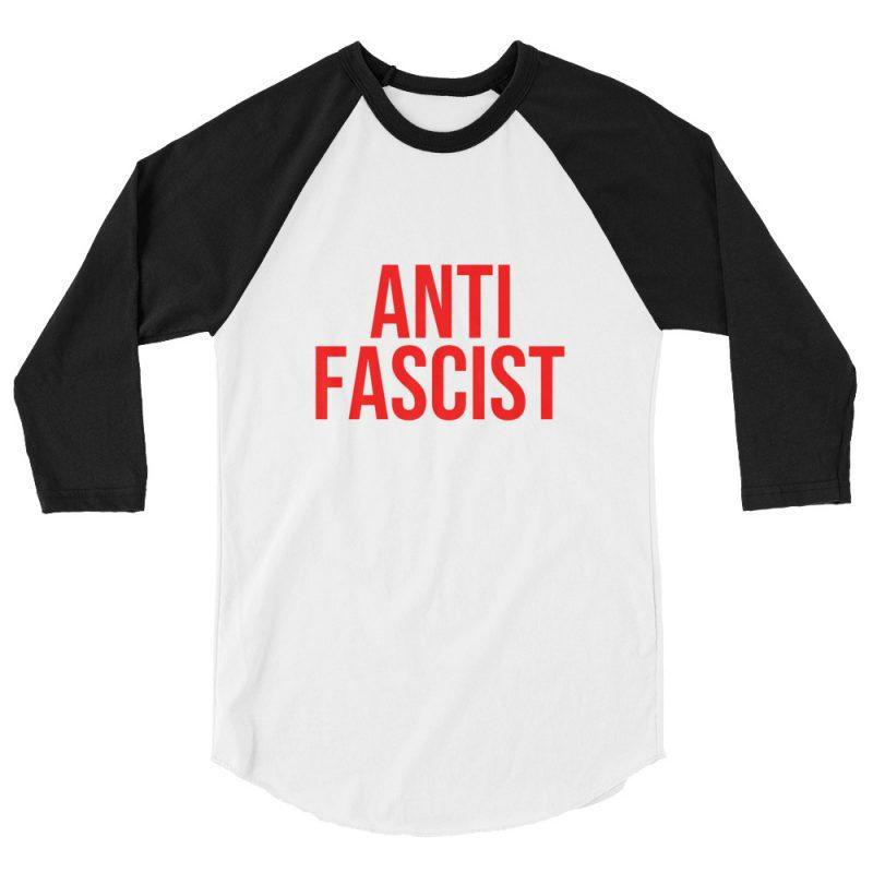 Anti-Fascist Red 3/4 Sleeve Raglan Shirt