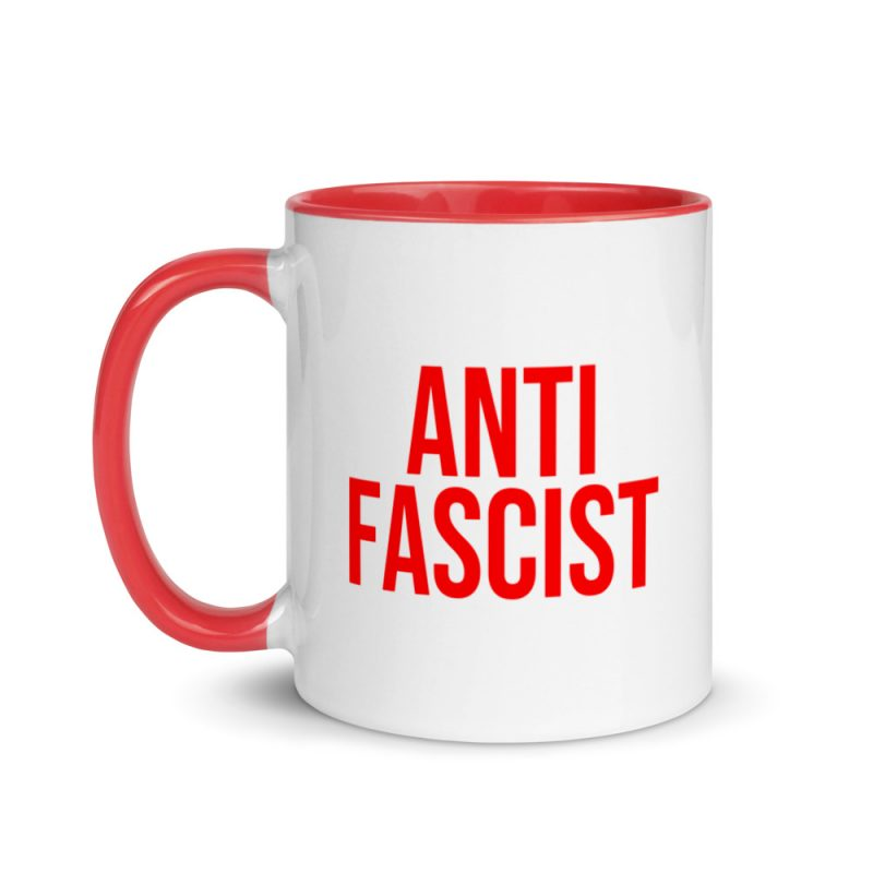 Anti-Fascist Red Mug with Color Inside